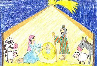 Božična voščilnica z nagrajeno risbico
