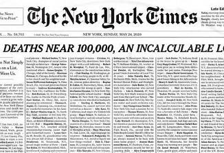 Današnji New York Times na naslovnici objavil imena tisoč žrtev novega koronavirusa