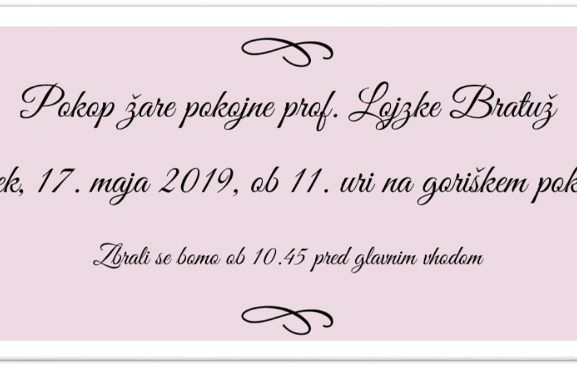 Pokop žare prof. Lojzke Bratuž